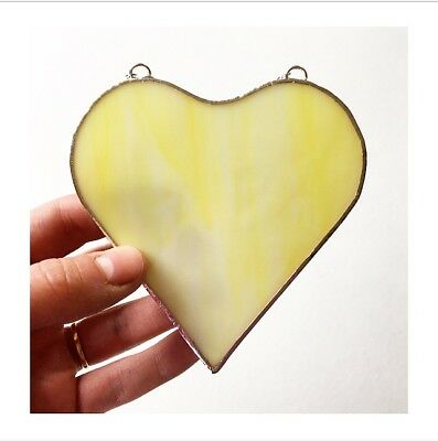 Handmade Stained Glass Yellow Love Heart Suncatcher Gift Decoration