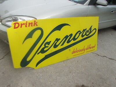 "Vernors Gingers Ale Sign 68 1/2"" by 30"" Hard Plastic"
