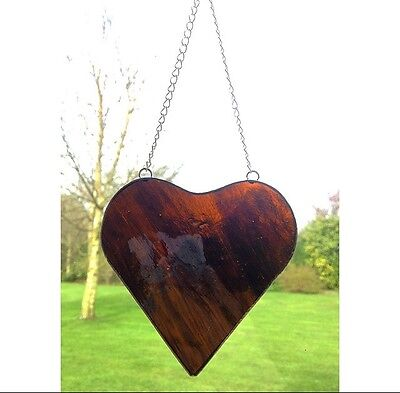 Handmade Stained Glass Brown Love Heart Suncatcher Gift Decoration