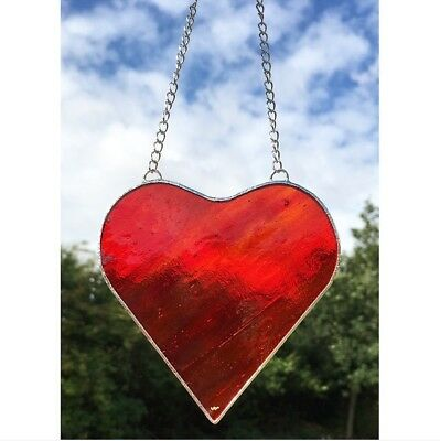 Handmade Stained Glass Red Heart Suncatcher Glass Gift Decoration
