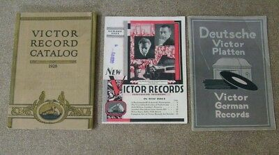 Victor Record Catalog lot 3 total 1920's including German Records vintage music