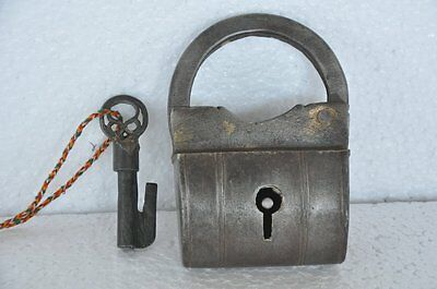 Old Big Solid Unique Bag Shape Handcrafted Iron Padlock , Rich Patina
