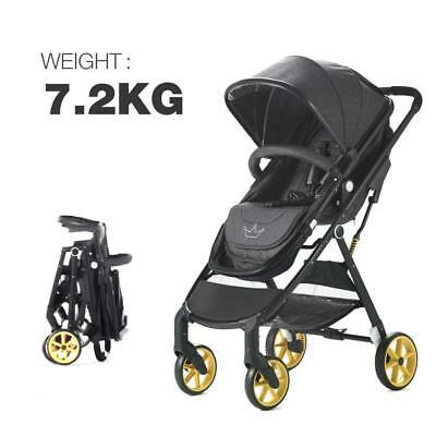 Allis City Baby 2in1 Pram Pushchair Buggy Travel Stroller - Grey/Black