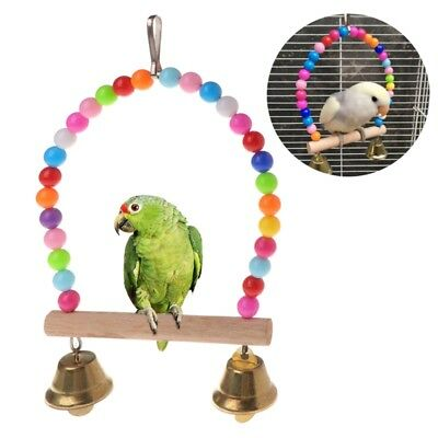 Natural Wooden Birds Perch Parrots Hanging Swing Cage With Colorful Beads Bells