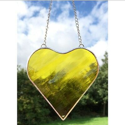Handmade Stained Glass Yellow Heart Suncatcher Gift Decoration