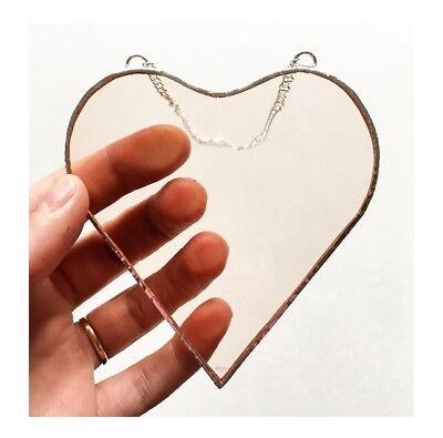 HANDMADE Stained Glass Light Pink Heart Suncatcher Decoration Gift