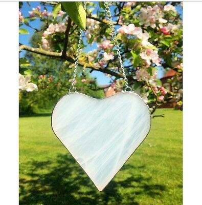 Handmade Stained Glass White Love Heart Suncatcher Gift Decoration