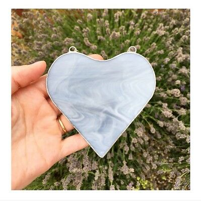 Handmade Stained Glass Grey Love Heart Suncatcher Gift Decoration