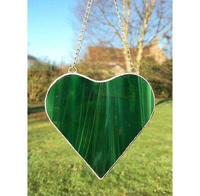 Handmade Stained Glass Dark Green Love Heart Suncatcher Gift Decoration