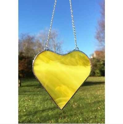 Handmade Stained Glass Yellow White Love Heart Suncatcher Gift Decoration