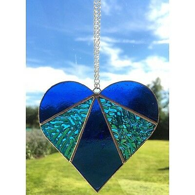 Handmade Stained Glass Love Heart Suncatcher Tiffany Glass Technique Blue Glass