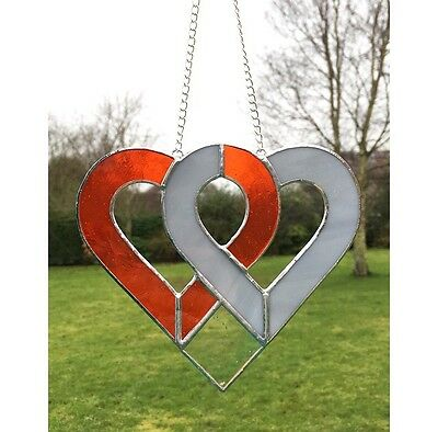 Handmade Stained Glass Love Heart Suncatcher, Orange Grey Glass Gifts Decoration