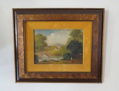 Antique Original Oil Painting Canvas Panel Wood Frame Country Landscape
