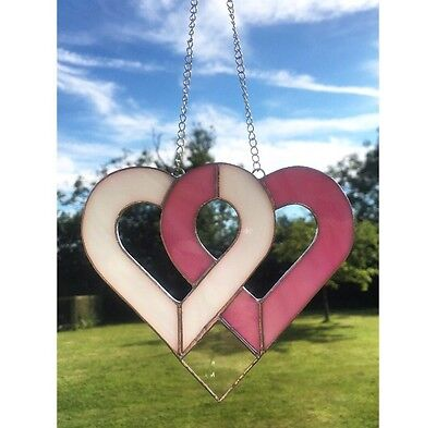 Handmade Stained Glass Love Heart Suncatcher, Pink And White Glass Gifts