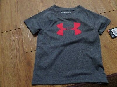 bnwt -boys short sleeve under armour shirt-size 3t-gray-red symbol
