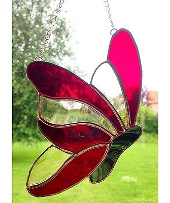 Handmade Stained Butterfly Suncatcher Tiffany Glass, Red & Pink Glass Decoration