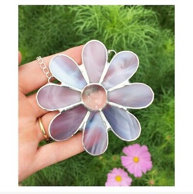 Handmade Stained Glass Daisy Flower Suncatcher Light Pink Glass Decoration Gift