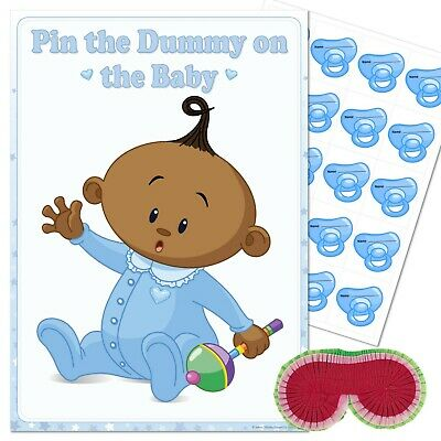 ETHNIC BABY SHOWER GAME Pin the Dummy on the Baby BLUE Boy 10,20,30,40 Blindfold