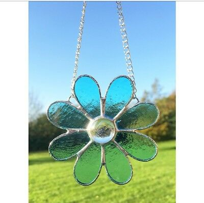 Handmade Stained Glass Flower Suncatcher Blue Glass Daisy Gift Decoration