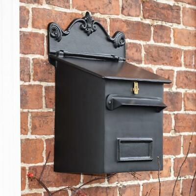 Black Wall Mounted Post and Parcel Box With Polished Brass Lock