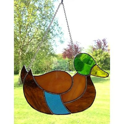 Handmade Stained Glass Mallard Duck Suncatcher Glass Gift Decoration