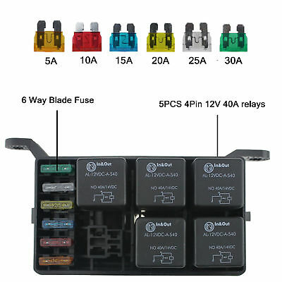 Universal 12V Car Marine 6-Way Relay+ 6-Slot ATO/ATC Blade Fuse Holder Box