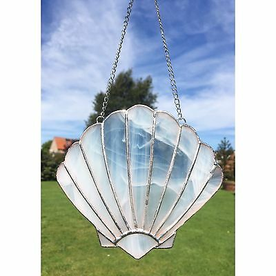 Handmade Stained Glass White Shell Suncatcher Seaside Beach Theme Decoration