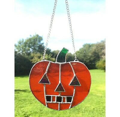 Handmade Stained Glass Halloween Decoration Pumpkin Suncatcher Glass