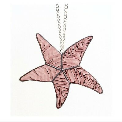 Handmade Stained Glass Pink Starfish Suncatcher, Gift, Seaside, Decoration