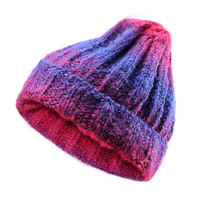 Women Knit Gradient Colour Braided Hat Crochet Knitting Hat Ski Beanie Cap