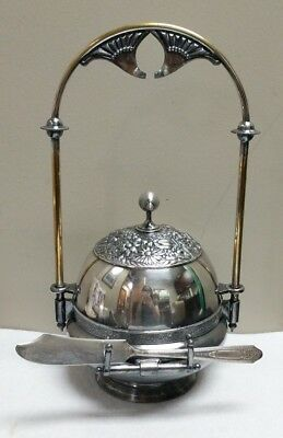 Antique Rogers Smith & Co Silverplate Repousse Floral Caviar Server Butter Dish