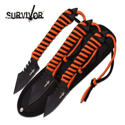 """Survivor 7.5"""" 3 Fixed Blades with Orange and Black Paracord"""