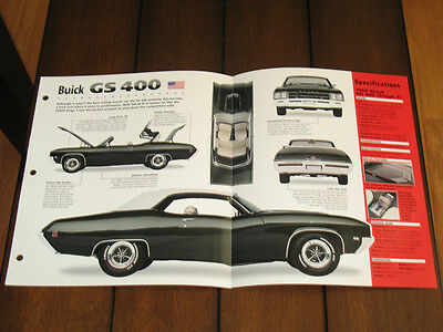 Brochure 1969 Buick GS400 GS 400 Vintage Classic Car Royal Woodward Judge GTO