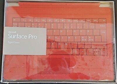 Microsoft Surface Pro 4 / 3 / 2017 Type Cover Slim Backlit Keyboard | Bright Red