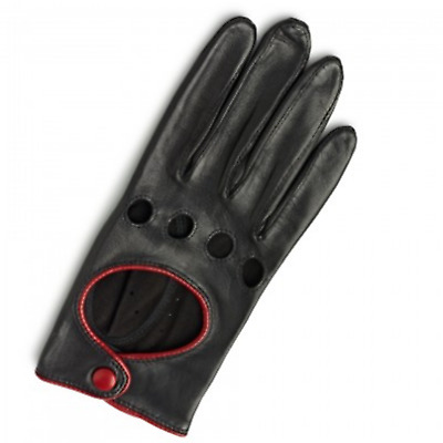 Women Genuine Lambskin Leather Fashion Driving Chauffeur Gloves Ladies