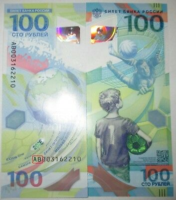 Russia 100 rubles - FIFA 2018 World Cup - Polymer - UNC-prefix AB (replacement)