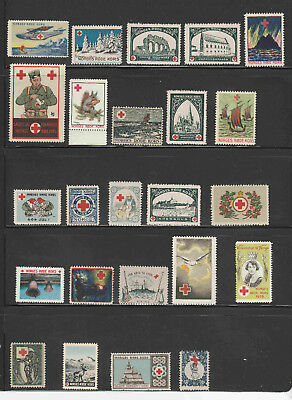 s277B | Norway, 24 diff Red Cross stamps, 1920s to 1950s