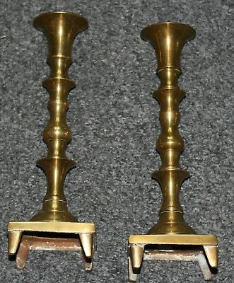"""BRASS Candlestick Holders 10"""" Tall Pair Square Base Footed Very Good  Fab Look"""