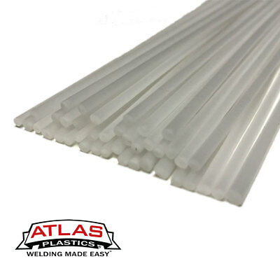 Polypropylene PP Plastic Welding Repair Rods-20ft, 20pk-12in x 3mm Natural-White