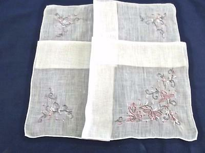 Vintage Madeira Handkerchief Hand Embroidered Pink Gray Leaves Hankie