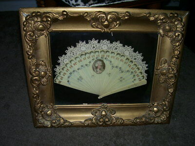Antique French hand carved  & lady's  picture painted fan -In antique Framed Woo