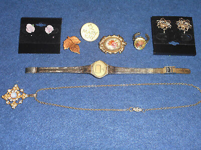 Vintage Estate Jewelry Mixed Lot: Armitron Watch, Pins, Earrings, Etc, 8 Pieces