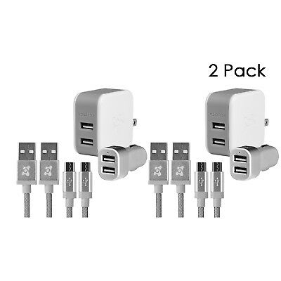 2 Pack Ubio Labs 2x Dual Wall, 2x Car Charger and 4x 6ft Micro USB Woven Cables