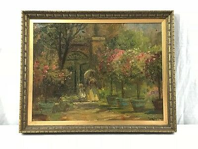 Hungarian Gergely Imre painting Mother and daughter in a park