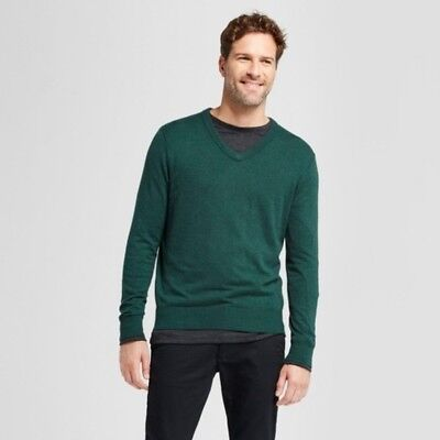 7ffbe01435 Goodfellow & Co Mens Heather Green Long Sleeve V-Neck Pullover Sweater  Medium