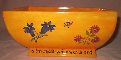 Hand painted ceramic RECTANGLE FLOWER POT by Uniquely Liz - Rectangle Flower Pot