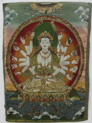 Chinese Ancient Tibetan silk embroidery and gold Guanyin Thangka a8