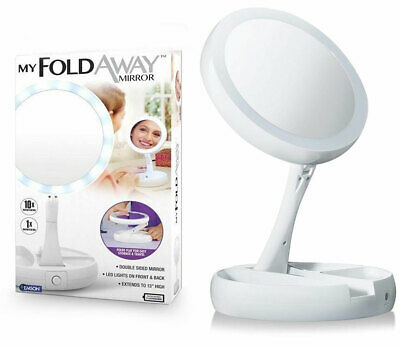 Portable Folding 10x Magnifying LED Light Up Two-Side Makeup Mirror Tabletop HC