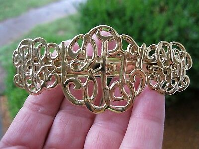 Vtg New Gold Lightweight Metal Scroll Design Hair Barrette French Clip 1980's