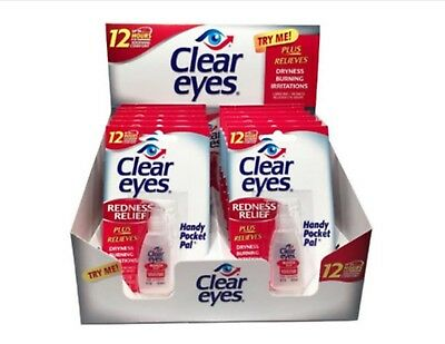 Clear Eyes Eye Drops Redness Relief~ 0.2 Oz.~ Exp 02/20 ~ 12 Pack ~